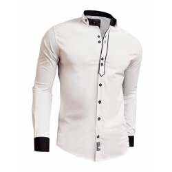 Designer Men Casual Formal Double Cuffs Grandad Band Collar Shirt Elegant Tie